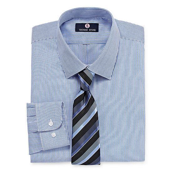 Thomas Stone Shirt And Tie Set Big And Tall Mens Point Collar Long Sleeve Shirt + Tie Set
