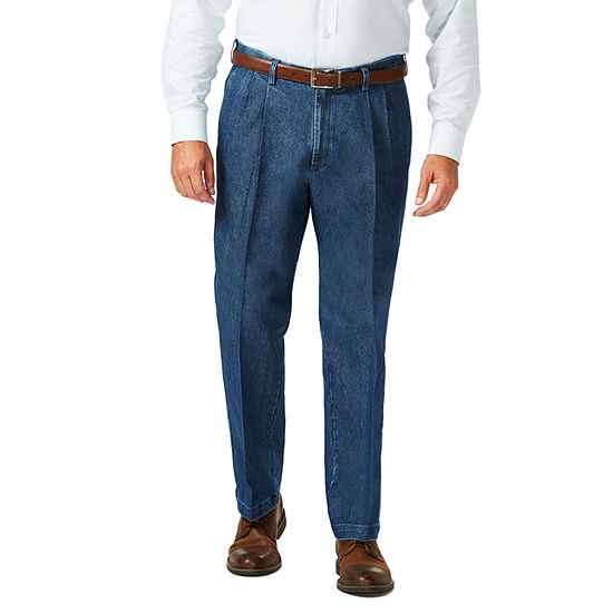 Haggar - Big and Tall Stretch Denim Plt Classic Fit Pleated Pant