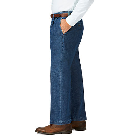 Men's Vintage Pants, Trousers, Jeans, Overalls Haggar - Big and Tall Stretch Denim Plt Classic Fit Pleated Pant 46 32 Blue $33.74 AT vintagedancer.com