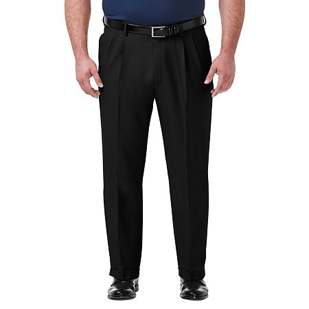 Men's Vintage Pants, Trousers, Jeans, Overalls Haggar - Big and Tall Premium Comfort Dress Pant Classic Fit Pleated Pant 50 29 Black $32.99 AT vintagedancer.com