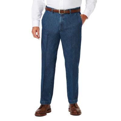 Haggar Stretch Denim Ff Mens Classic Fit Flat Front Pant-Big and Tall