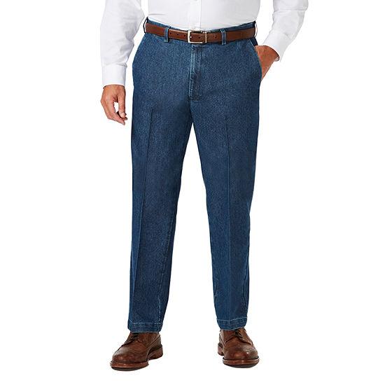 Haggar-Big and Tall Stretch Denim Ff Mens Classic Fit Flat Front Pant