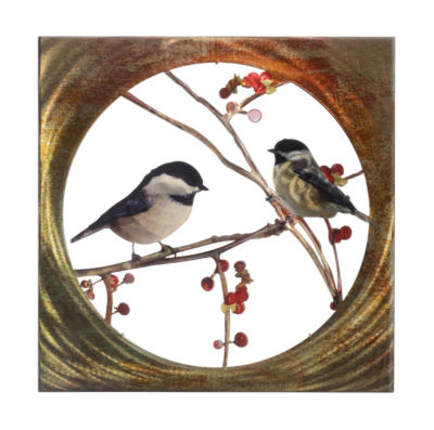 Metal Wall Art Birds 16x16 Chickadees