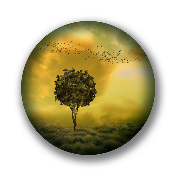 "Metal Wall Art Decor Solitude 24"" Round"""