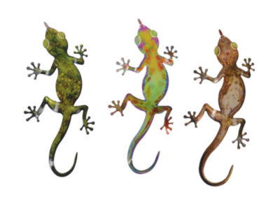 Gecko Wall Art Metal Gecko 3 Piece Set