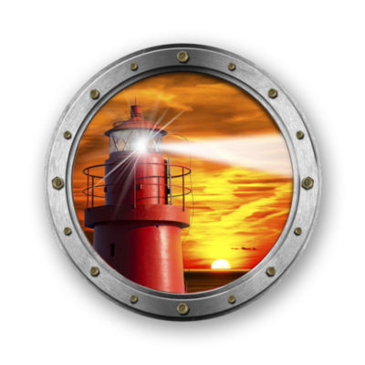 "Metal Wall Art Decor Ocean Beacon 24"" Round"""