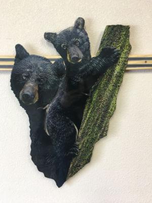 Metal Bear Wall Art Black Bear and Cub Wall Art