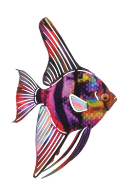 Metal Fish Wall Art Medium Tetra Fish Purple