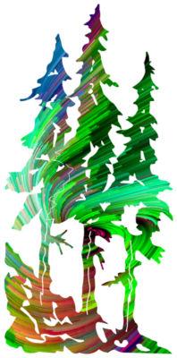 Green Swirl Pine Trees