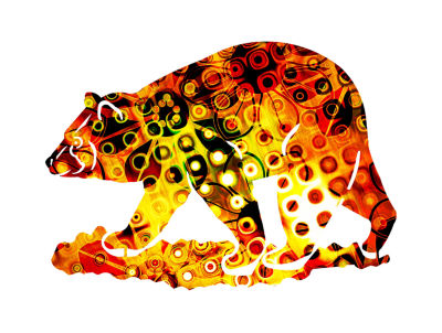 Metal Bear Wall Art Safflower Small Bear