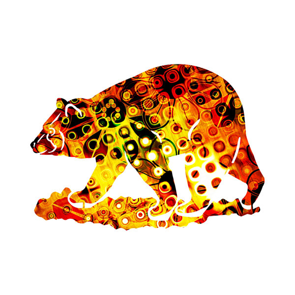 Metal Bear Wall Art Safflower Small Bear