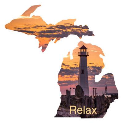 Metal Wall Art Michigan State Shape Relax Lighthouse