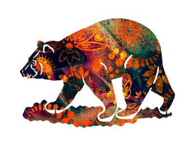 Metal Bear Wall Art Saffron Small Bear