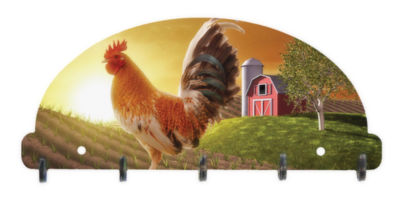 Key Rack Organizer Rooster with Barn
