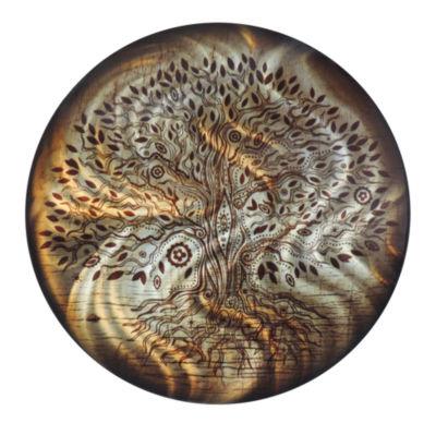 "Wall Art Decor Tree of Life Amber 24"" Round"""