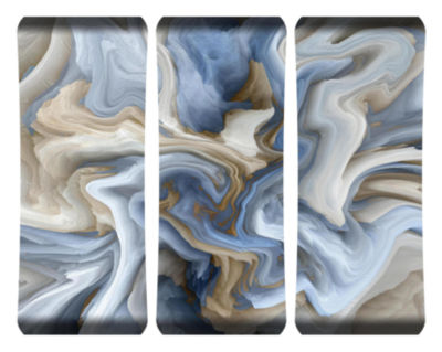 Metal Wall Art Home Decor Blue Swirl 48x19 Triptych HD Curve
