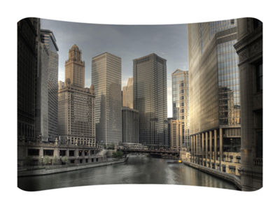 Metal Wall Art Home Decor Chicago River 36x24 HD Curve
