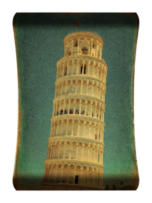 Metal Wall Art Home Decor Leaning Tower 36x24 HD Curve