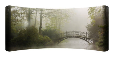 Metal Wall Art Home Decor Mist Bridge 48x19 HD Curve
