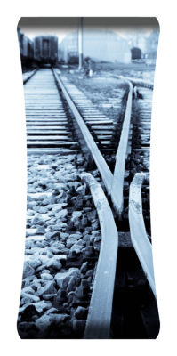 Metal Wall Art Home Decor Rail Tracks 48x19 HD Curve