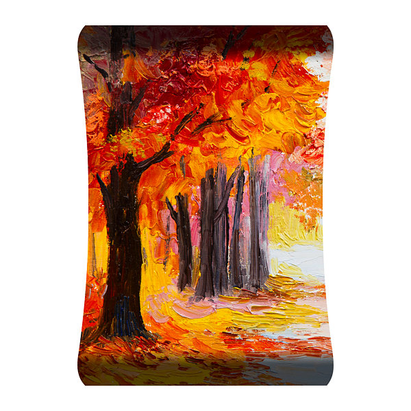 Metal Wall Art Home Decor Red Trees 36x24 HD Curve