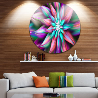Design Art Dance of Multi Color Exotic Flower Floral Round Circle Metal Wall Art