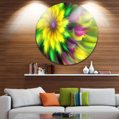 Design Art Dance of Yellow Exotic Flower Floral Round Circle Metal Wall Art
