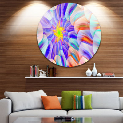 Design Art Multi Colored Stain Glass with SpiralsFloral Round Circle Metal Wall Art