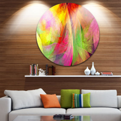 Design Art Spectacular Multi Color Pattern FloralRound Circle Metal Wall Art