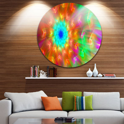 Design Art Amazing Multi Color Petals Dandelion Floral Round Circle Metal Wall Art