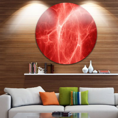 Design Art Bright Lightning on Red Sky Floral Round Circle Metal Wall Art