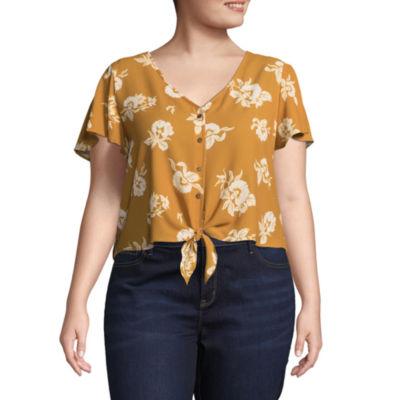 Arizona Short Sleeve V Neck Woven Floral Blouse-Juniors Plus