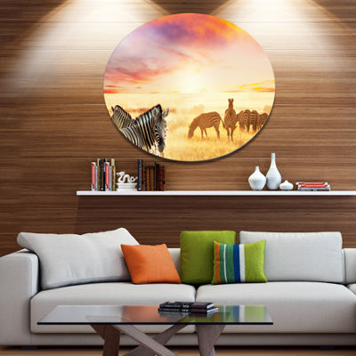 Design Art Cute Zebras Grazing in Grassland AnimalMetal Circle Wall Art