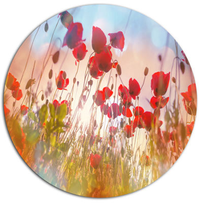 Design Art Cute Poppy Flowers in Sunlight Disc Floral Circle Metal Wall Decor