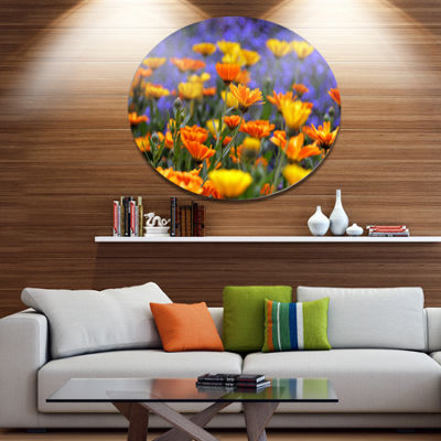 Design Art Yellow Orange Flower Garden Disc FloralCircle Metal Wall Decor
