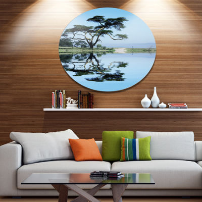 Design Art Beautiful Tree Reflecting in Lake Oversized Landscape Metal Circle Wall Art