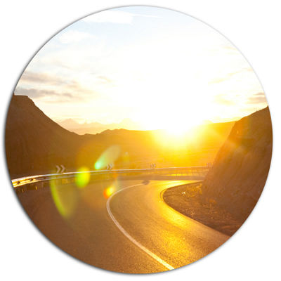 Design Art Yellow Road under Sunset Oversized Landscape Metal Circle Wall Art
