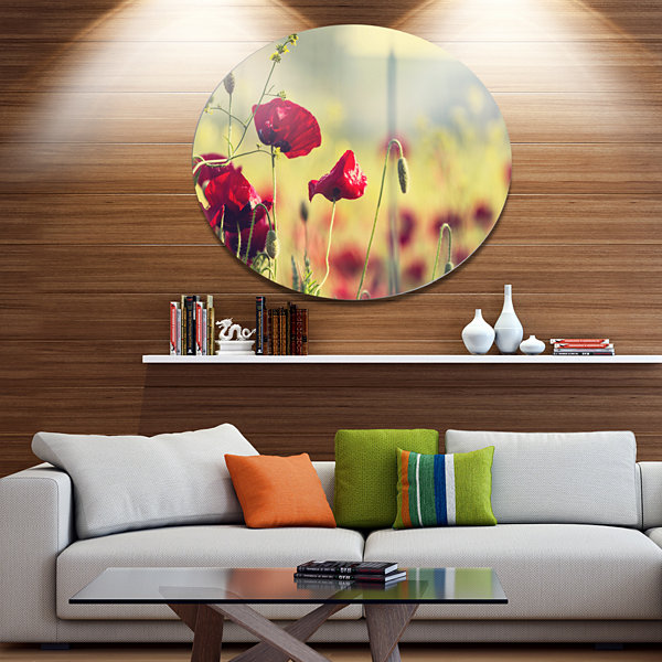 Design Art Poppy Flowers on Green Background Floral Oversized Circle Metal Artwork