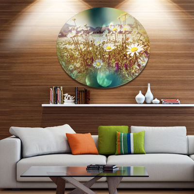 Design Art Chamomile Flowers in Summer Garden Landscape Oversized Circle Metal Artwork