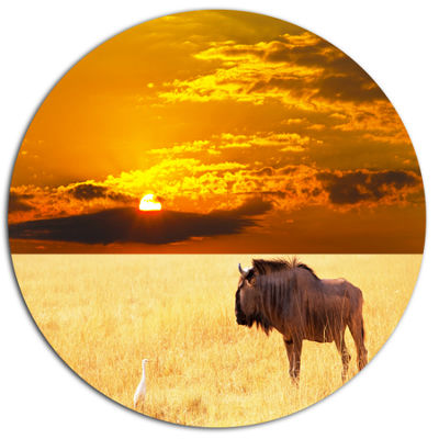 Design Art Huge Antelope in Field At Sunset African Landscape Metal Circle Wall Art