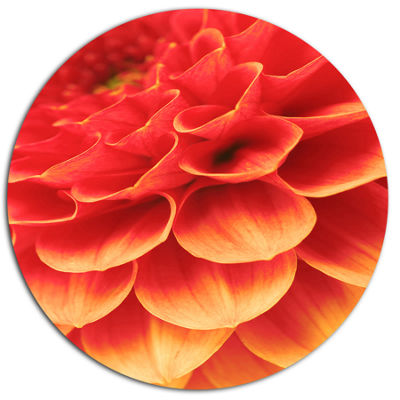 Design Art Abstract Orange Flower and Petals DiscFloral Circle Metal Wall Decor