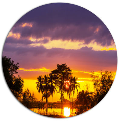 Design Art Colorful Flooded Field At Sunset Disc Landscape Wall Art on Metal Wall