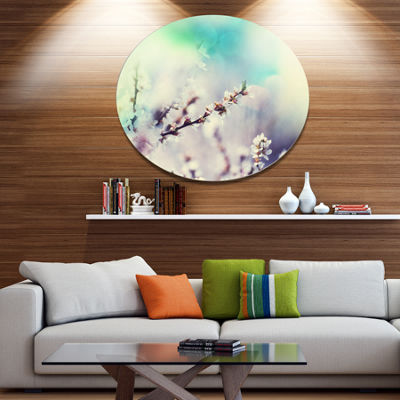 Design Art White Cherry Blossoming Flowers FloralOversized Circle Metal Artwork