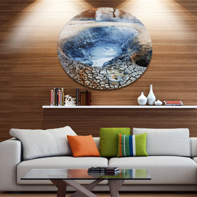 Design Art Beautiful Fumarole Field in Iceland Landscape Wall Art on Metal Wall