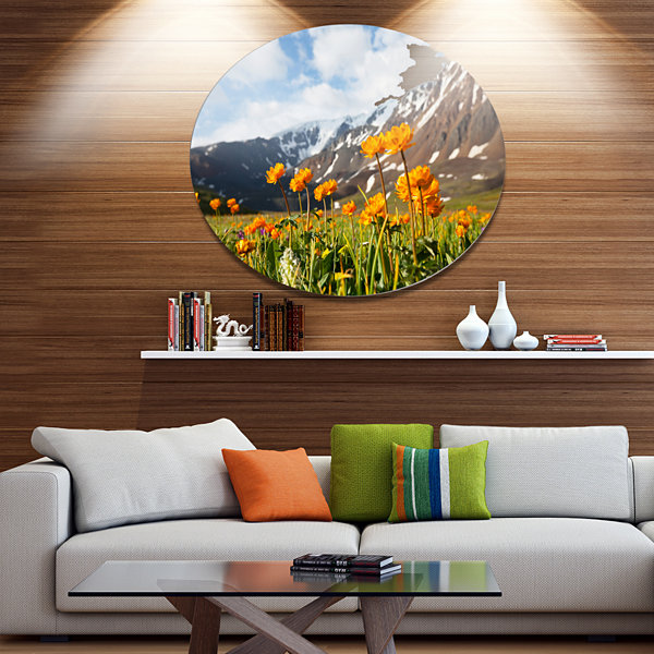 Design Art Mountain Meadow with Yellow Flowers Large Flower Oversized Circle Metal Artwork