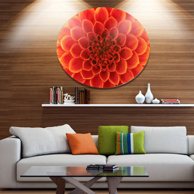 Design Art Orange Abstract Flower Petals Disc Floral Circle Metal Wall Decor