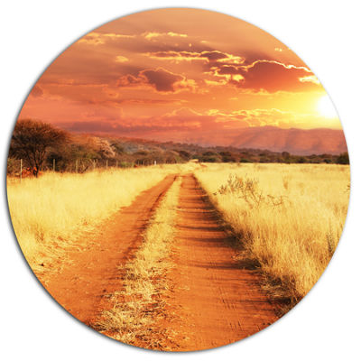 Design Art Straight Path in African Landscape Oversized Landscape Metal Circle Wall Art