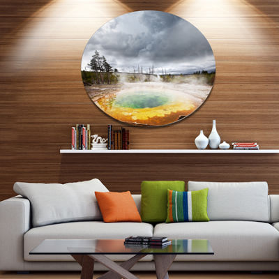 Design Art Fantastic Morning Glory Pool Disc Landscape Circle Metal Wall Decor