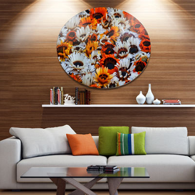 Design Art Colorful Sunflowers in Garden Disc Floral Circle Metal Wall Decor
