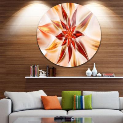Design Art Dance of Brown Exotic Flower Floral Round Circle Metal Wall Art
